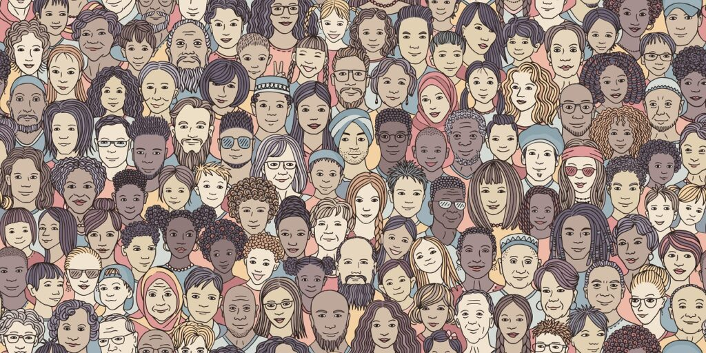 様々な人種の人日簿の顔が集まるイラスト